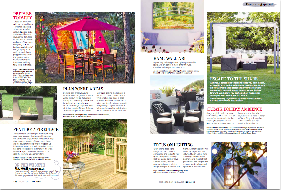 Outdoor living real homes magazine august 2014 jules says so for Outdoor living magazine